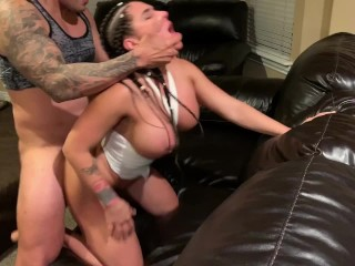 Real amateur anal fuck in the living room