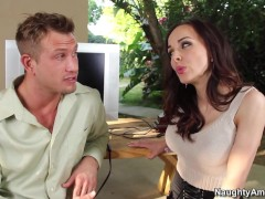 Naughty America Dark-haired Cytherea Hot Fucking In The Couch