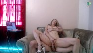 Dusty and busty Peppermint and dusty fuck on the chaise lounge with creampie and squirt