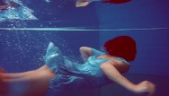 Hot sexy pool babes - Redhead russian hairy babe swimming pool action
