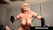 Milking machine used on penis Busty cock stroking queen milf julia ann uses soft gloves to milk a dick