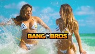 Summer sands bikini Bangbros - hot women shower on south beach to rinse off the sand