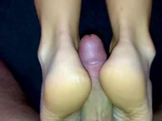 Amateur footjob #34 MILF ped socks, ballbusting, kicking and cum in sock