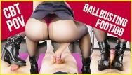 Femdom testicle stomp Pov cruel amateur ballbusting kicks stomping with footjob era