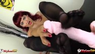 High arch and sexy toe - Sexy redhead footjob wearing five toes pantyhose