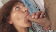 Hairy ol grannies - He plays with her hairy wet pussy on the floor
