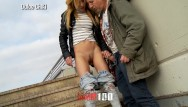 Old man pissing in outdoors Trailer with dulce chiki : outdoor public peeing and hard sex