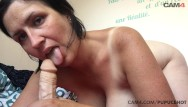 Tanned tits milf - Tanned mom gently sucks her huge dildo