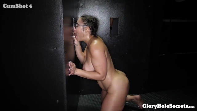 sexy curvy sexy girl in glasses swallows 10 loads of strangers load