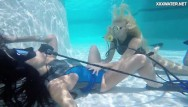 Blonde lesbian licking Hot lesbo teens in the swimming pool licking and masturbating