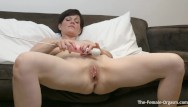 Sexual groans Milf bates fleshy pussy to two groaning pulsing orgasms