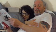 Hardcore fuck music - Teen babe with glasses fucked hardcore by grandpa