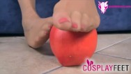 Hostess in pantyhose toes Snow white in tan shiny pantyhose knows how to use her feet