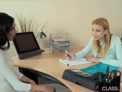 Rbecca And Ashley Rigid Bang-out In The Office For The Very First Time