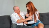 Old man and busty blonde Daddy4k. when busty babe needs money, she has sex with lovers father