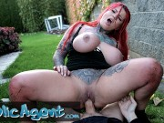 Public Agent Sabien Demonia gets her big boobs out and pussy fucked