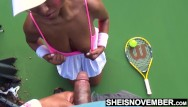 Dick ambrose court - Ebony tennis playing giving up head on the court with big tits outside