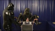 Girl getting clit rubber - Latex master and slave girl breathplay rubber sheet fucking sniffing dildo