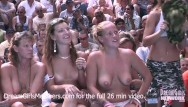 Nudegirl nudist Exhibitionist wife wet t-shirt contest at a nudist resort