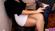 Marsh cross naked Secretary jerks off new boy at work till cum on crossed legs in pantyhose
