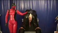 Rubber latex bondage Punishment the rubber slave anal treatment with plugs strap on latex femdom