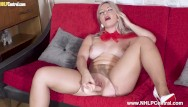 Big boobs milf hunter - Sexy blonde elle hunter masturbates with dildo toy in torn pantyhose heels