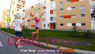 Lorella upskirt - Shaved pussy petite teens upskirts from street go leggings with no panties