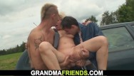 Shaved old ldies grannies - Shaved busty blonde granny double fucked for money