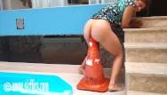 Cone bottom taks in spokane Latin whore fucks giant road cone in her ass