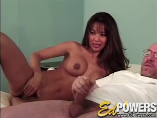 ED POWERS - Asian Babe Rubs Clit In Front of Ed