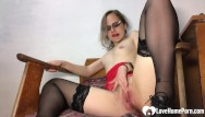 Blonde slut teacher Amazing teacher in stockings pleasures her juicy pussy