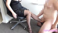 Sexy leg links Femdom leg worship handjob and legjob cumshot on stockings sexy legs