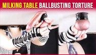 Bondage on dinner table Milking table edging handjob and balls torture era
