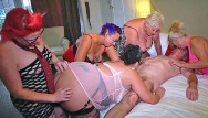 Big boob women running Group of older women and a lucky guy