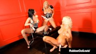 Stretchy rubber women fetish Hot hitachi love rubberdoll, puma swede vicky vette bate cum together