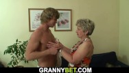 Old sex youg granny women Big-cocked guy plays with her shaved snatch