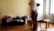 Matheson strip - Blonde stepsister strips and spreads herself