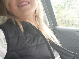 I'm in my car, trying out my remote vibrator, its soooooo good !!