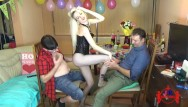 Sex party girls Birthday party-blonde girl performing a striptease in front of 2 lucky guys