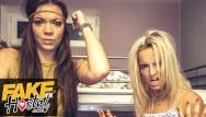 Interracial ffm cumshot Fake hostel battle with two noisy teens ends in ffm threesome