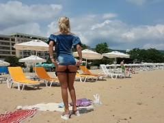 Hot Gal Public Beach Masturbate-a Stranger Gives Him First Anal