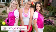Lesbian in hot tub Lily raders softball training turns into hot teens threesome - webyoung