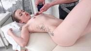 Hand under breast I fucked her finally-slim brunette gets her orgasm under masseurs hands