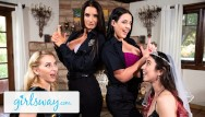 Reality milf tube Angela white turns this bachelorette fuck party into a foursome - girlsway