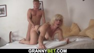 Naked woman behind the window Busty mature blonde takes it from behind