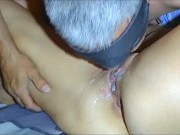 My husband went crazy. He eats his own cum from my pussy.