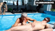 Gay clubs in 08205 Senior citizen takes a hot load by the pool