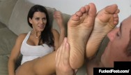 Tan brunette foot job Hot tan brunette leena sky gets her sweet feet worshiped foot fucked