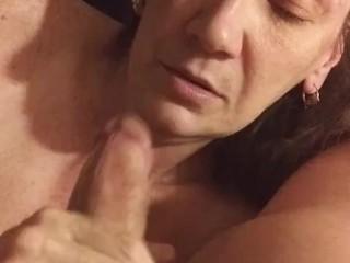 Wife sucks me dry with cumshot