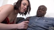 Interracial cuckold and castration Brunette deepthroat black cock sloppy blowjob and facial cumshot with cuckold husband watching